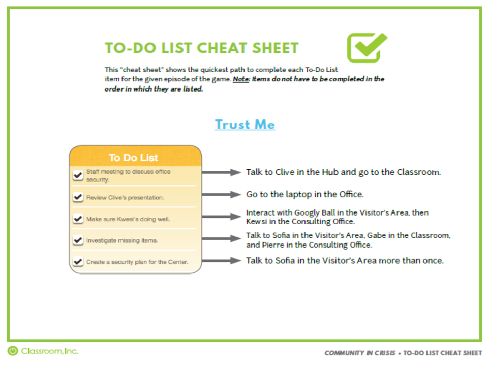 """Trust Me"" To-Do Cheat Sheet"