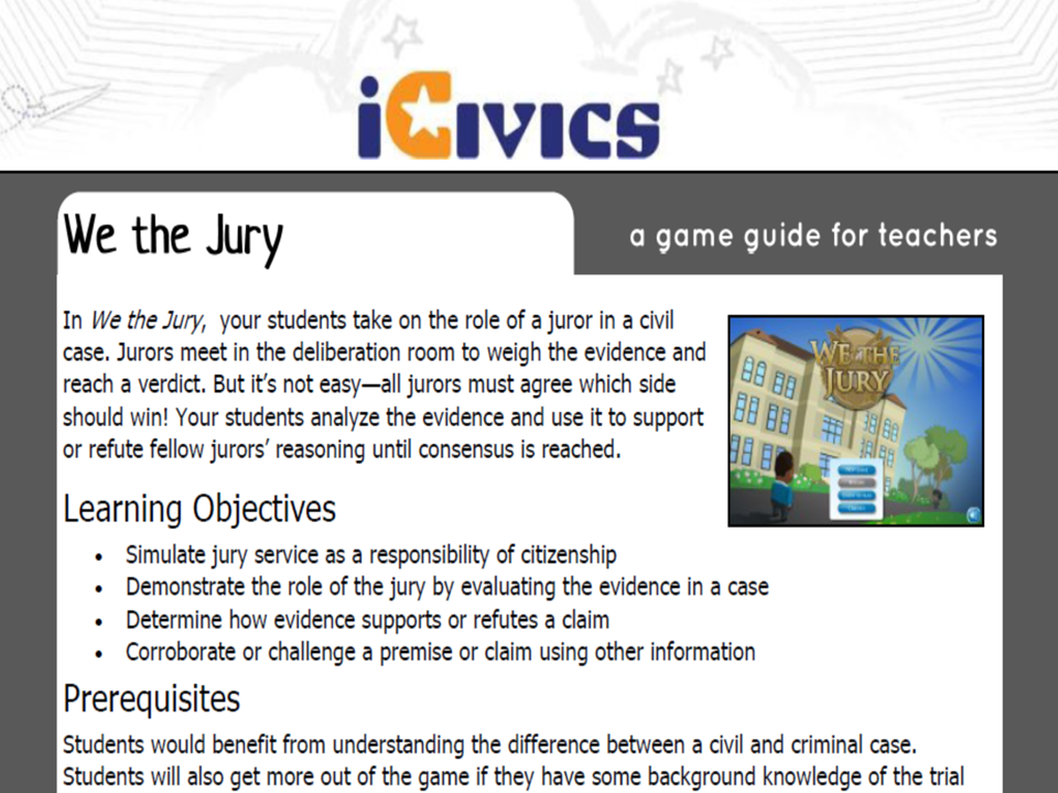 We the Jury Game Guide