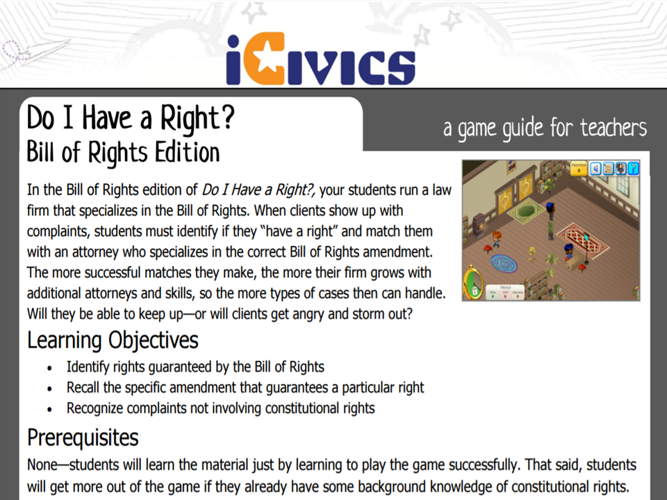 Your Bill of Rights Game Guide