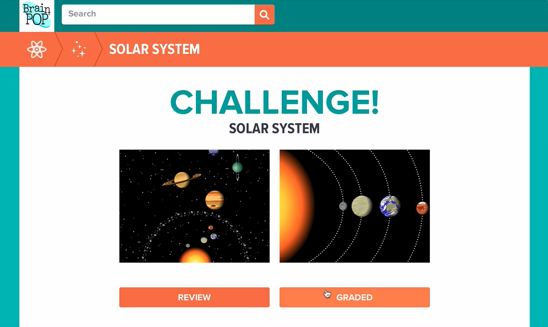 Challenge launch page Solar System