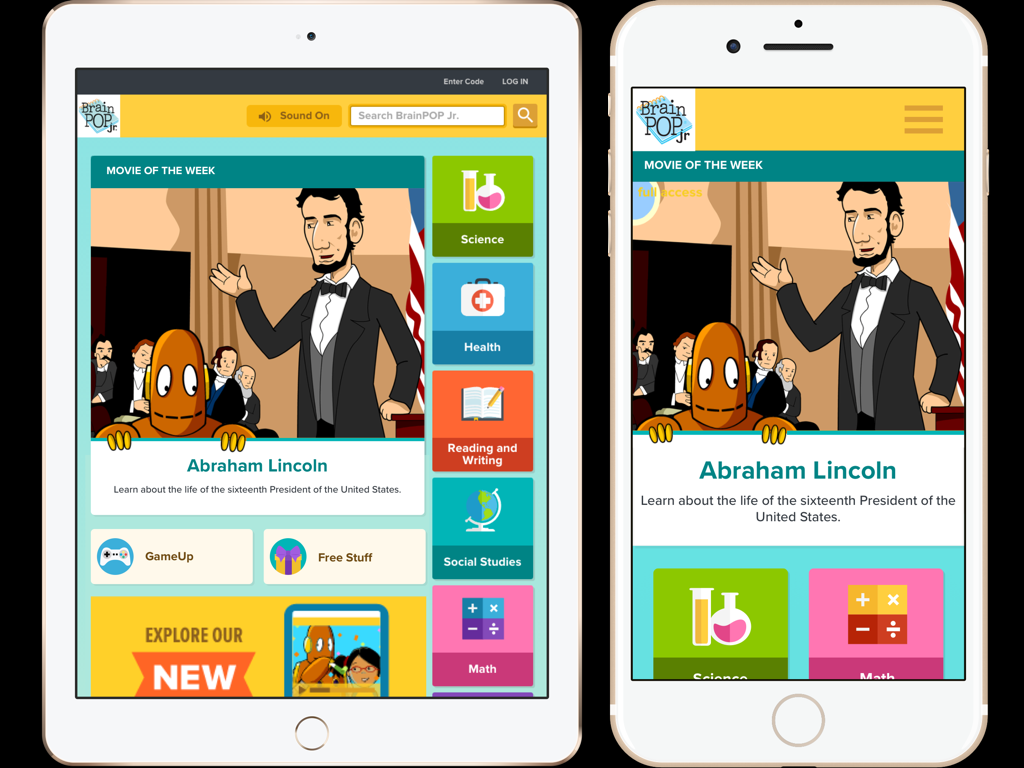 BrainPOP Jr. Redesign Preview