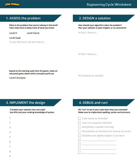 CodeCombat: Ogre Encounter Engineering Cycle Worksheet