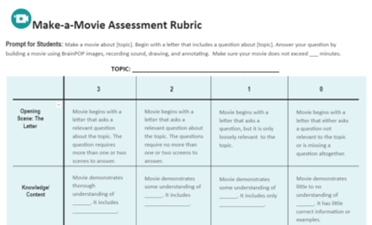 Make-a-Movie Assessment Rubric