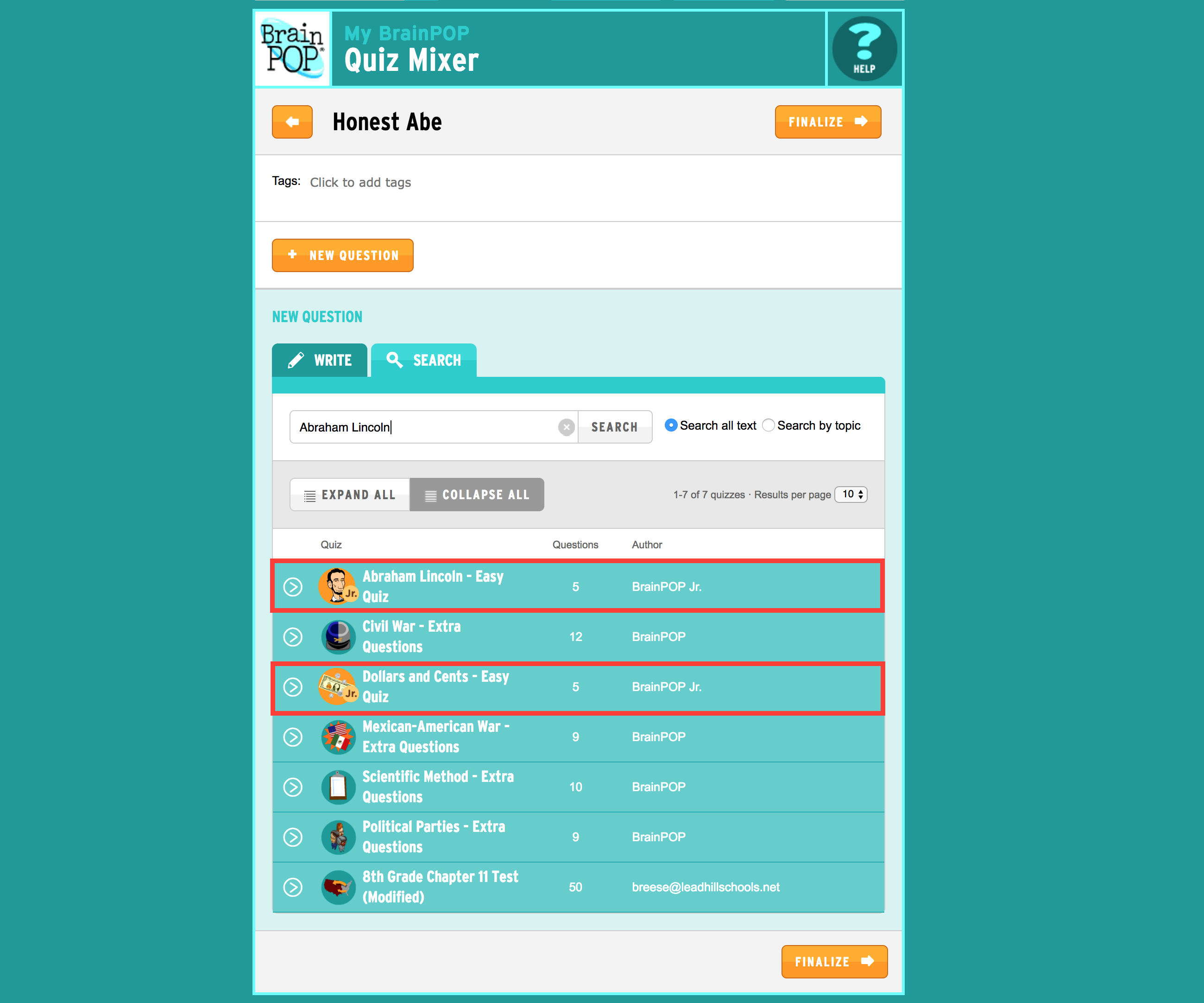 Quiz Mixer Now Available for BrainPOP Jr.!