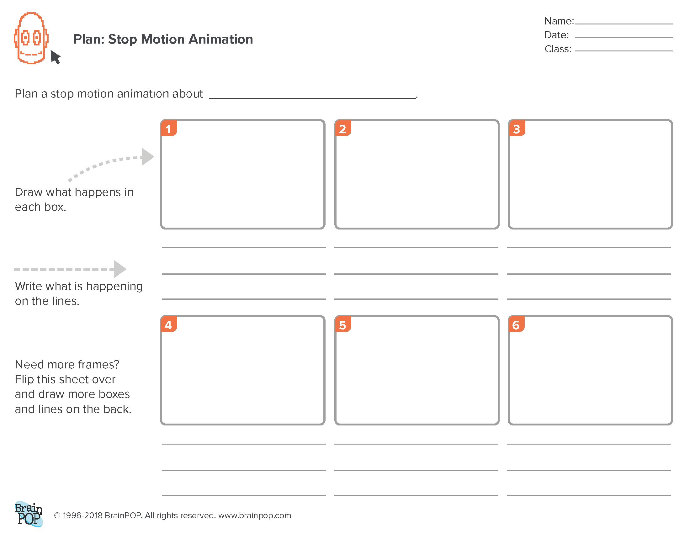 Planning Sheet: Stop Motion