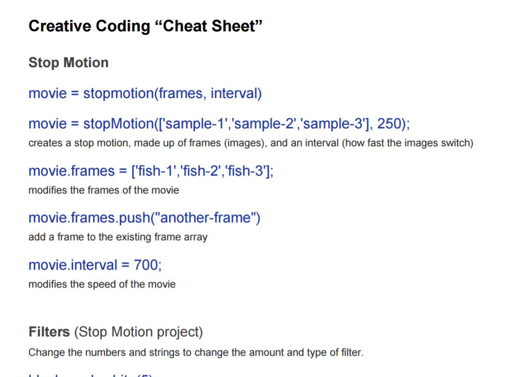 "Creative Coding ""Cheat Sheet"""