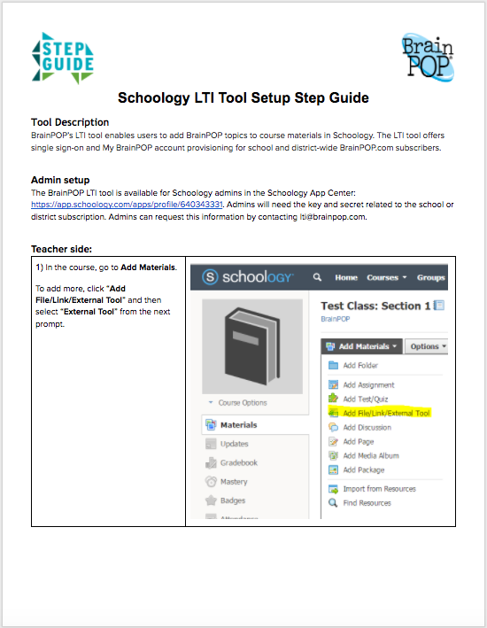 Schoology LTI Tool Step Guide