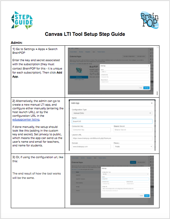 Canvas LTI Tool Step Guide