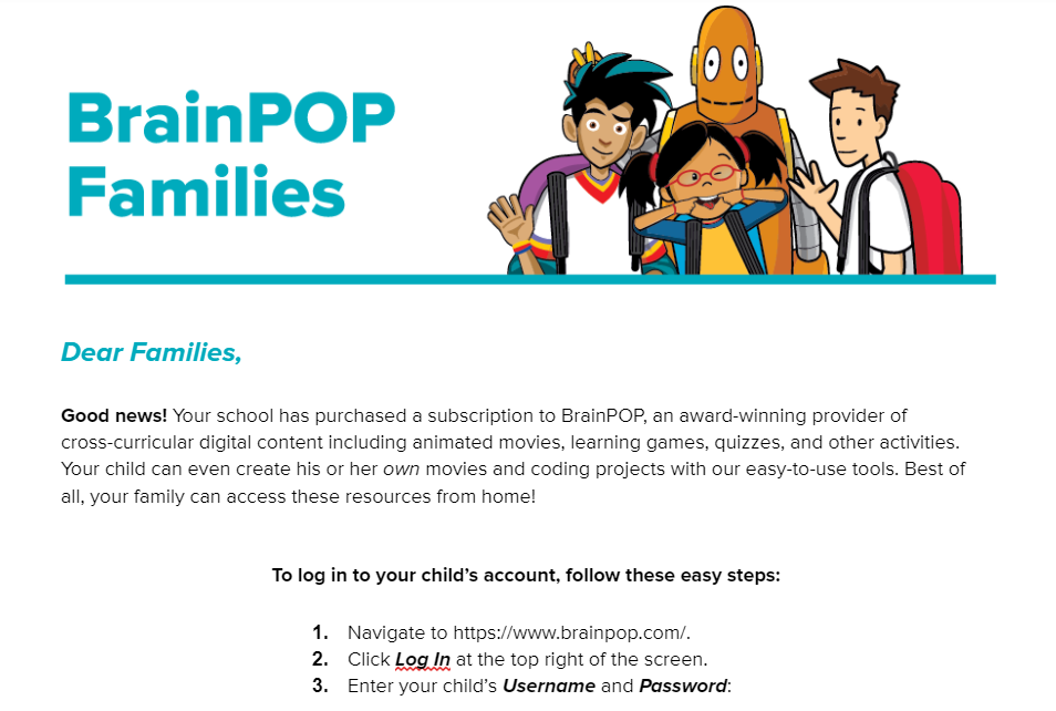 BrainPOP Letter to Family