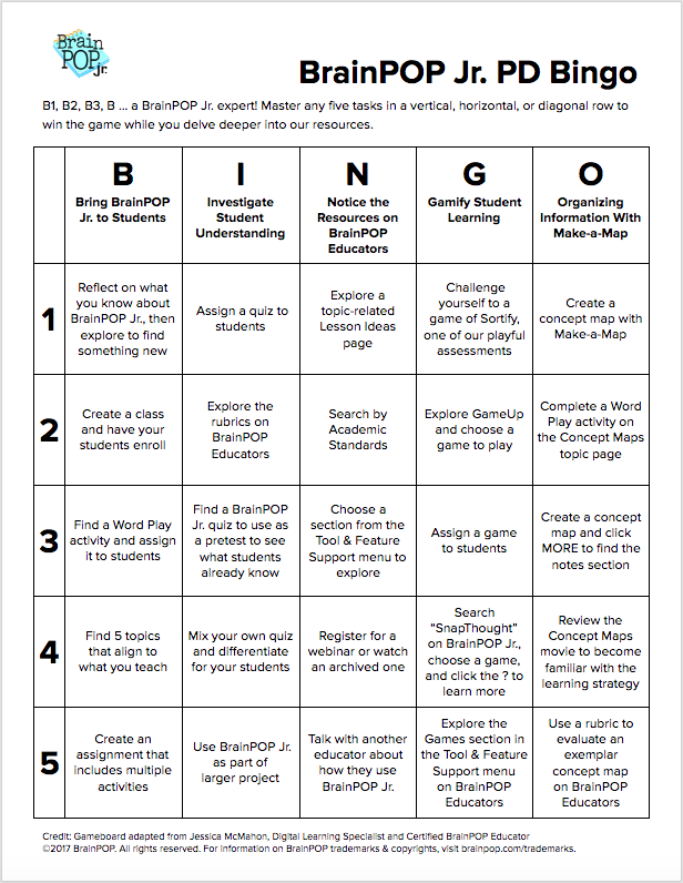 BrainPOP Jr. PD Bingo Board
