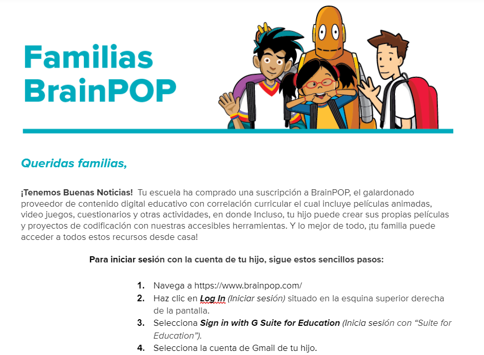 BrainPOP Letter to Family (Google Log In) — Spanish Version