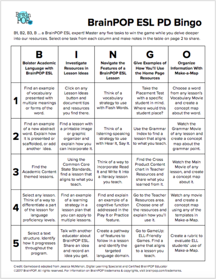 Brainpop ell pd bingo board brainpop educators this bingo board is a great way to familiarize yourself with all our offerings master any five tasks in a vertical horizontal solutioingenieria Gallery
