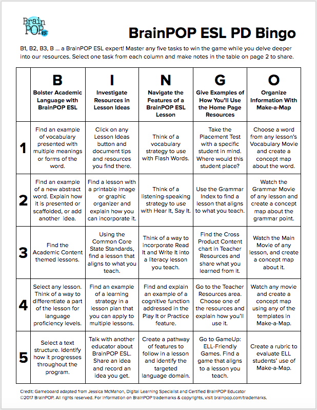 BrainPOP ELL PD Bingo Board