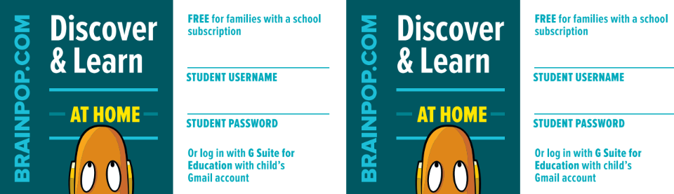 BrainPOP Login Card