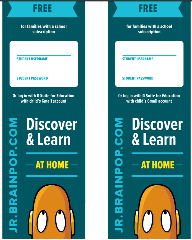 BrainPOP Jr. Login Bookmark