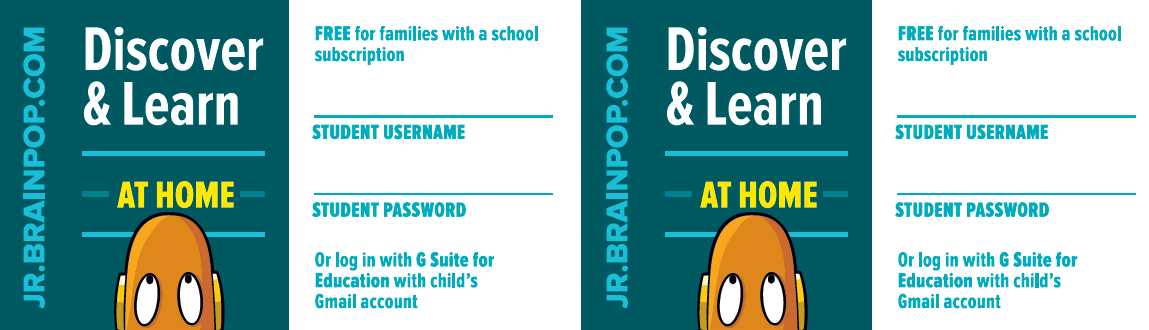 BrainPOP Jr. Login Card