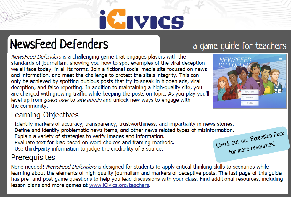 NewsFeed Defenders Game Guide