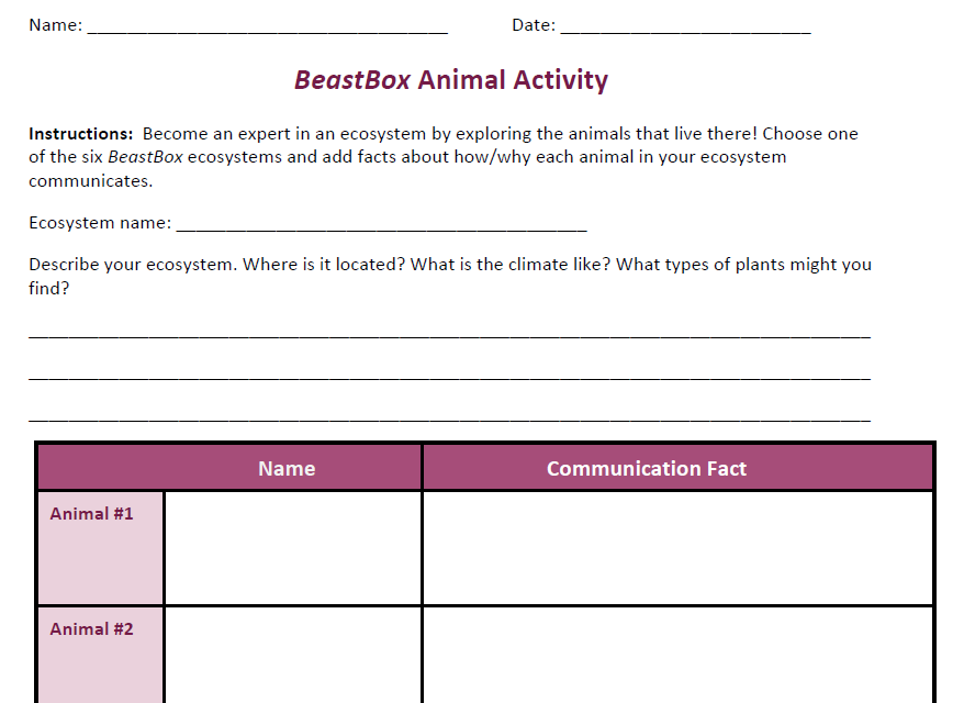 BeastBox Animal Activity