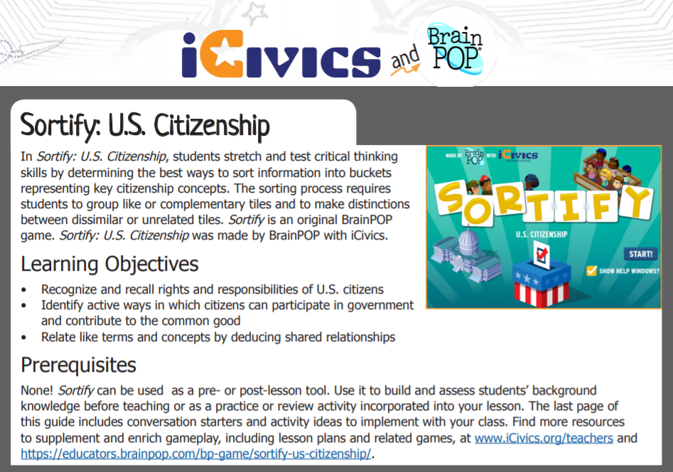 Sortify: US Citizenship Game Guide
