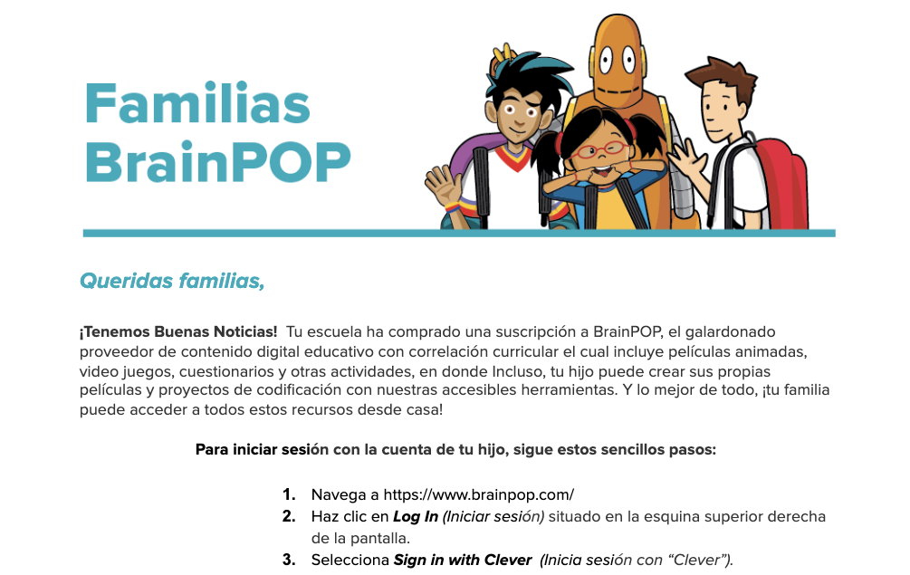 BrainPOP Letter to Family (Clever Log In) — Spanish Version