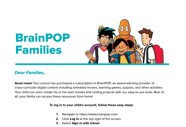 BrainPOP Letter to Family (Clever Log In)