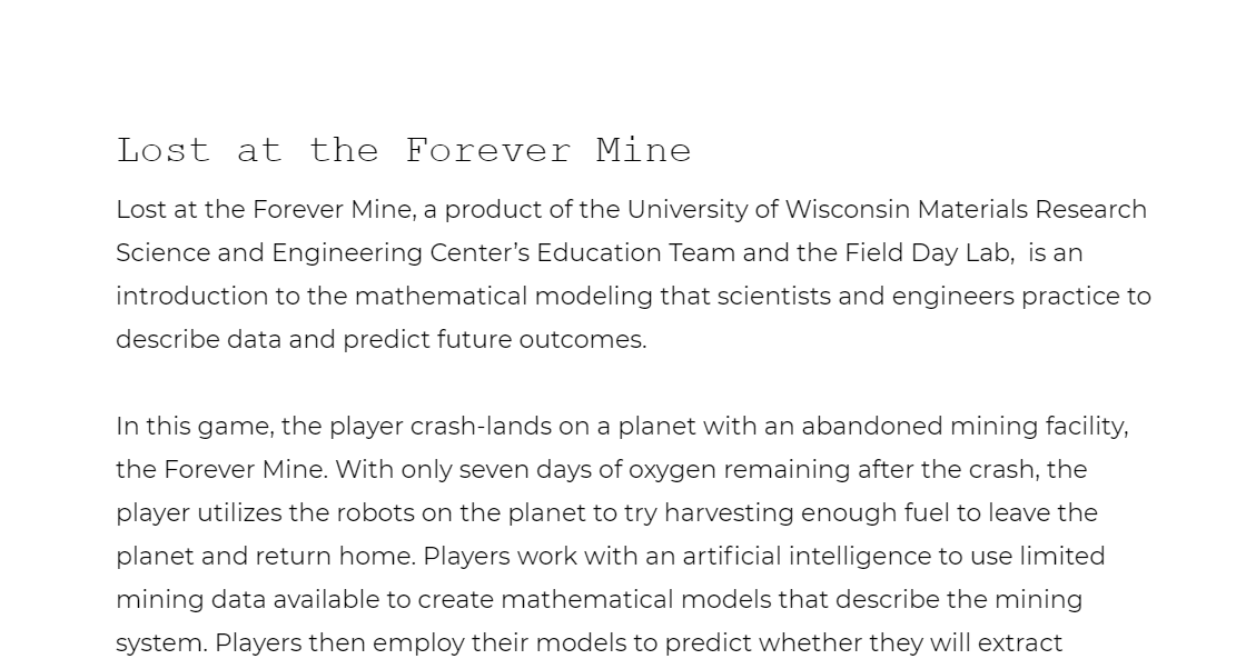 Lost at the Forever Mine Teaching Guide