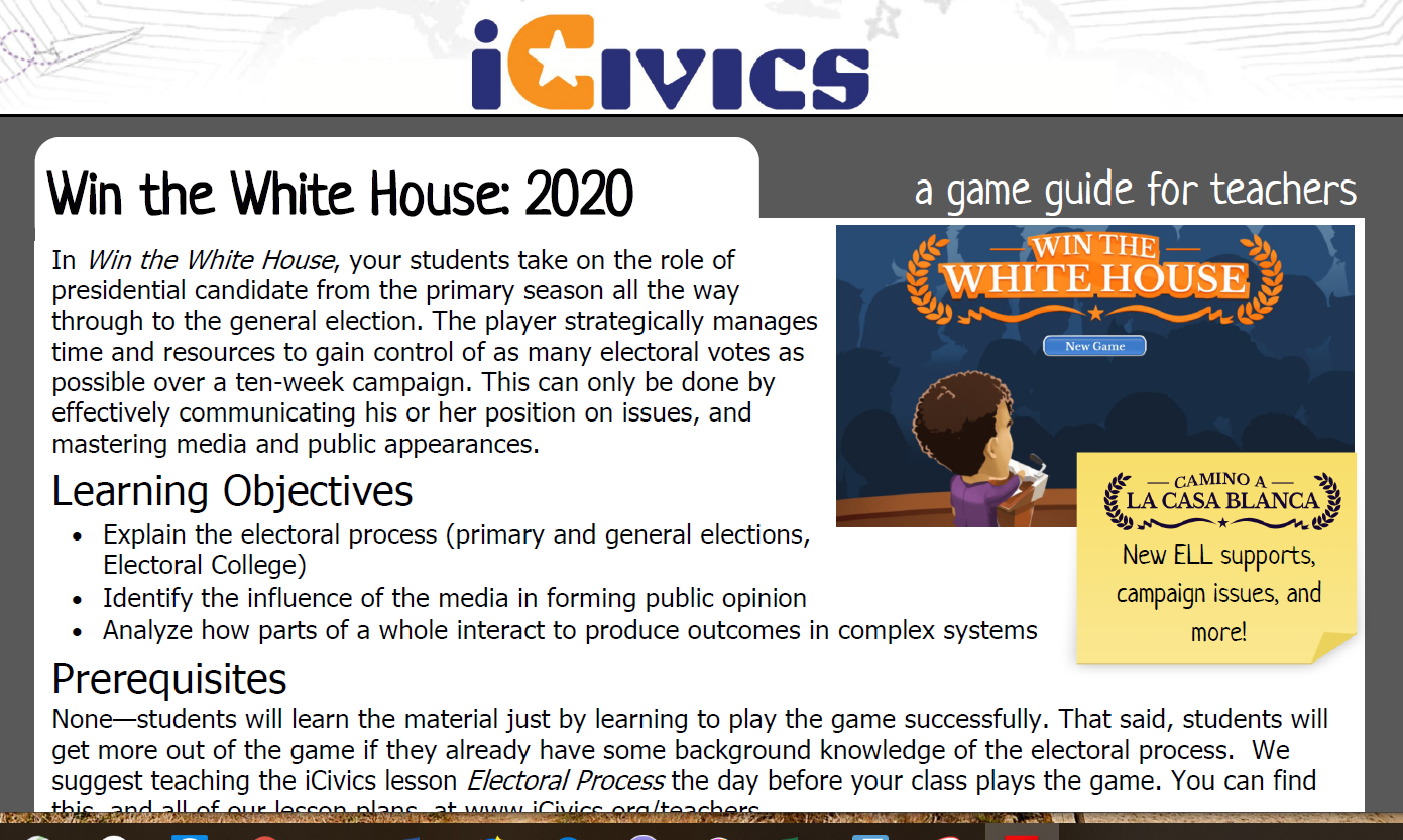 Game Guide: Win the White House 2020