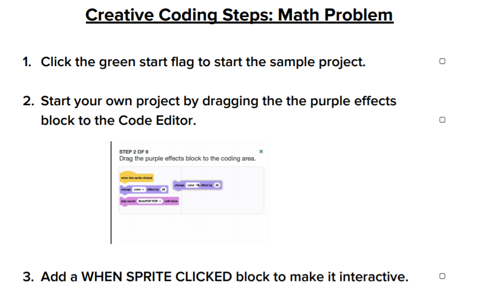 Creative Coding Steps: Math Problem