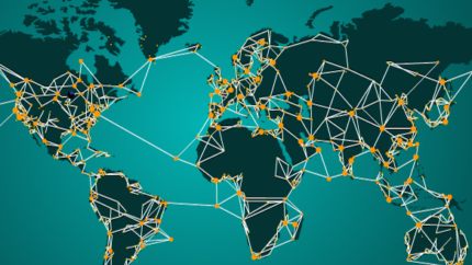 Global Map with connections between continents